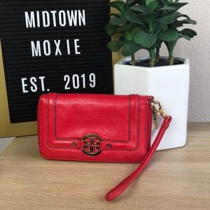 Tory Burch red leather wristlet